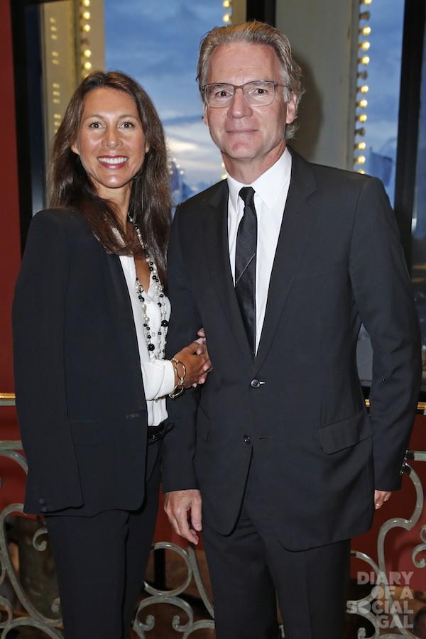 Deauville, France, 30 août 2014 --- 17e édition du bal au bénéfice de l'association Care France, dans le salon des Ambassadeurs du casino de Deauville : Olivier ROYANT et son épouse Delphine.