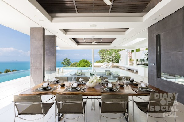 Outdoor dining at Celadon, a luxury and private villa located in the hills of Ban Por with ocean view, Koh Samui, Thailand