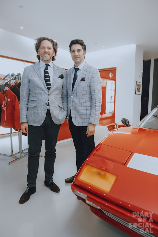 FERRARI ORNELLAIA ALLIANCE: Ornellaia wine - winemaker and estate director AXEL HEINZ and Ferrari Maserati Quebec president UMBERTO BONFA.