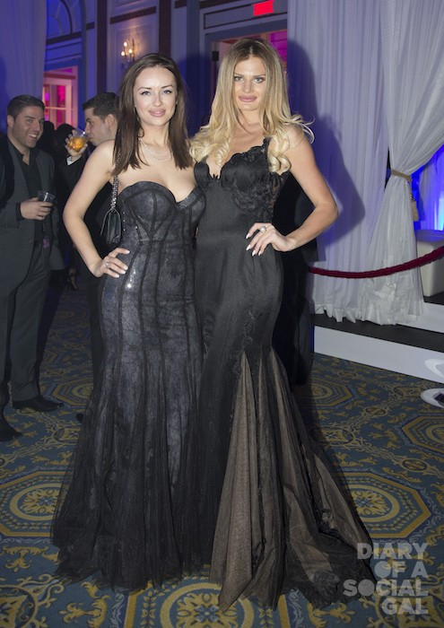 GOWN WITH THAT: Jools designer KSENIA BOEVA and exec pal ANNA GALCHENYUK in RACHEL PEREZ HAUTE COUTURE.