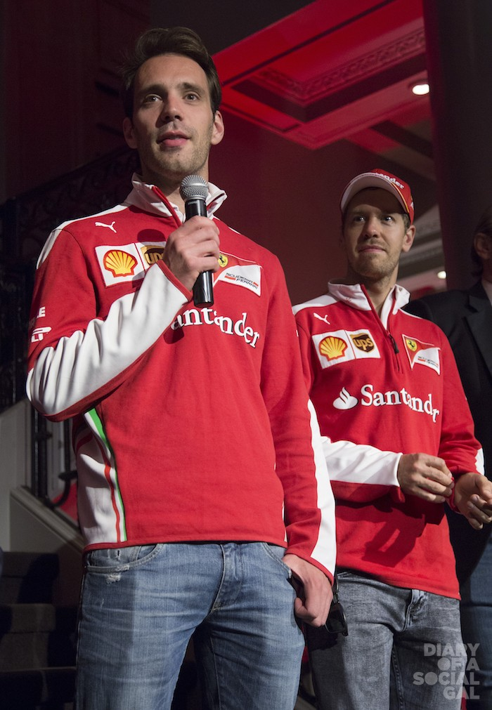 TEAMERS: Scuderia Ferrari team drivers SEBASTIAN VETTEL and JEAN-ÉRIC VERGNE.