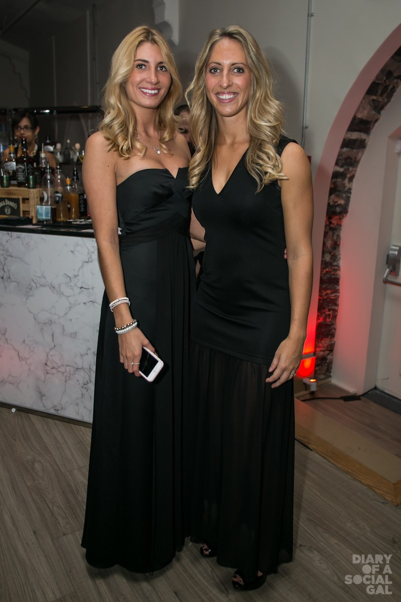 BLONDES IN BABE BLACK: MATHILDE LECOMTE in BCBGMAXAZRIA and STEPHANIE FUGERE.