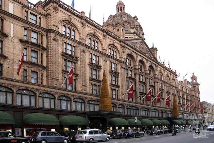 Harrods department store in London on a winter's day