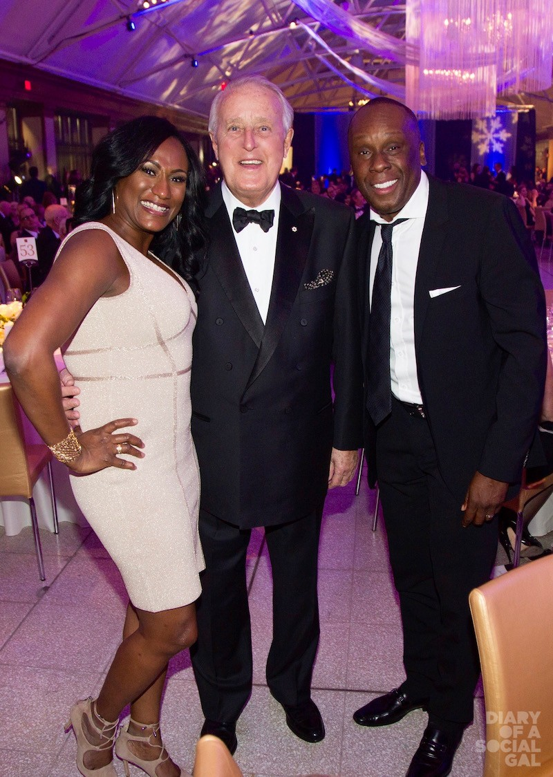 BIG SMILES ON THE BIG NIGHT: BIANELLE SURIN, former PM BRIAN MULRONEY and Olympian BRUNY SURIN.