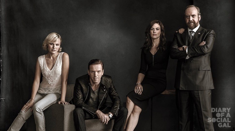 "PR Art for the Showtime original series Billions. - Photo:  James Minchin/SHOWTIME - Photo ID:  BILLIONS_PRArt_02.R    Pictured:  Malin Akerman as Lara Axelrod, Damian Lewis as Bobby ""Axe"" Axelrod, Maggie Siff as Wendy Rhoades and Paul Giamatti as Chuck Rhoades"