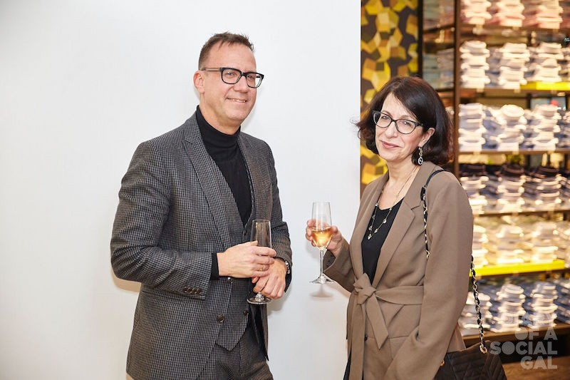 SPECS & CHAMPS: Dress To Kill editor-in-chief  STÉPHANE LEDUC, fashion journo EVA FRIEDE.