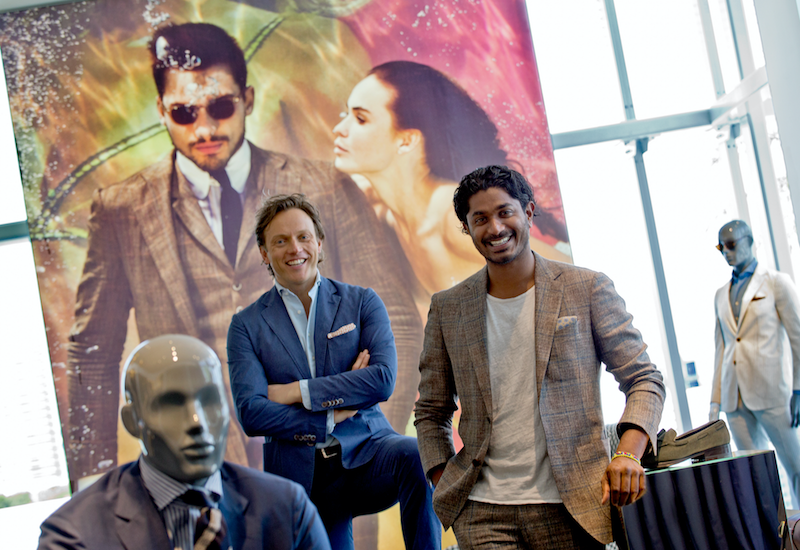 WELL SUITED: Event hosts with the most, Suitsupply founder /CEO FOKKE DE JONG, company vice-president NISH DE GRUITER.