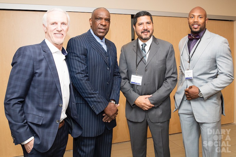 LEGENDS STAND TALL: Sports Personality of the Year MIKE BOSSY, Expos Baseball Legends Award Recipient ANDRE DAWSON, former Montreal Alouettes Quarterback ANTHONY CALVILLO, and current Montreal Alouettes player KYRIES HEBERT.