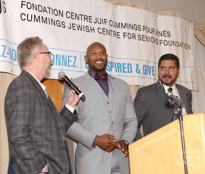 ALLO ALOUETTES! The Gazette's own HERB ZURKOWSKY, on stage with Alouettes player KYRIES HEBERT, and former quarterback ANTHONY CALVILLO.