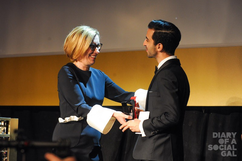 MAGIC MOMENT: Hudson's Bay president LIZ RODBELL,  onstage with Business of Fashion founder /CEO IMRAN AMED, winner of the Vanguard Award.