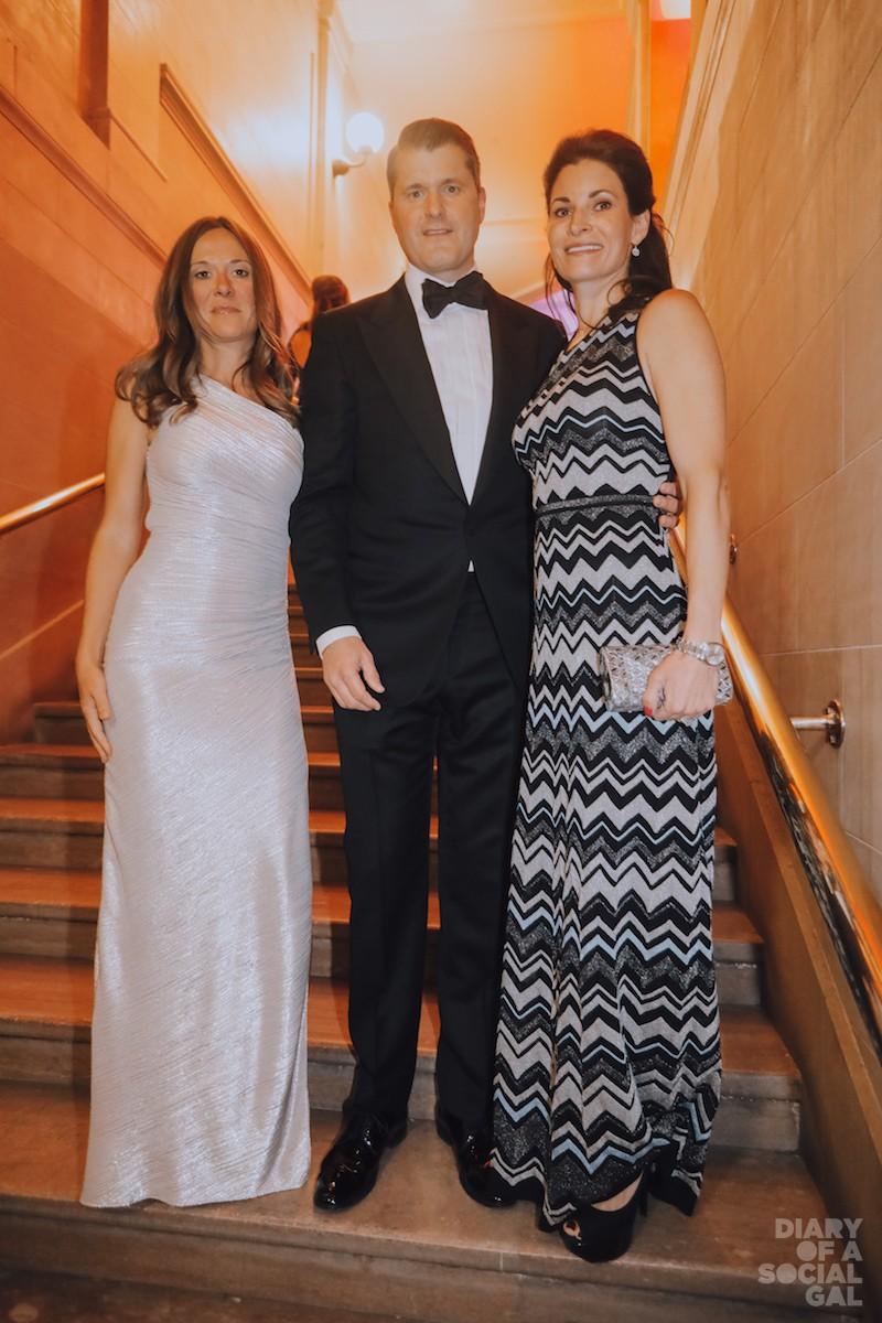 STAIR MASTERS: Bouclair's DAPHNÉE GAGNON, in HERVÉ LÉGÉR, plastic surgeon KARL SCHWARZ, IN TOM FORD, and wife, anesthesiologist NIKI JECEN SCHWARZ, in MISSONI.