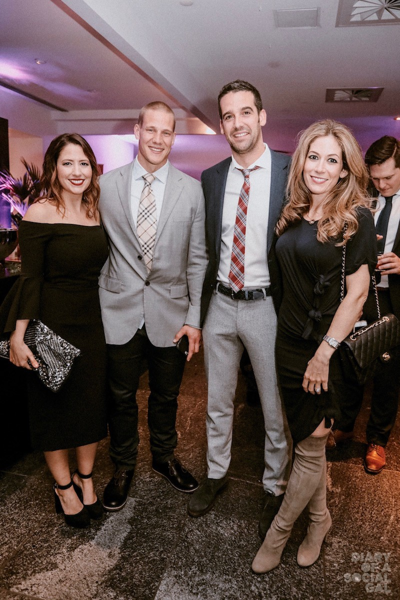"ALLO ALOUETTES! PR powerhouse GEN SHARP, in MILLY and JIMMY CHOO, Montreal Alouettes player SAM GIGUERE, Alouettes president / CEO PATRICK ""SIZZLE"" BOIVIN and wife CATHERINE SHARP."