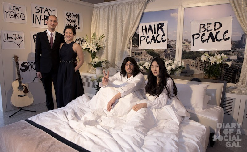 """THAT KIND OF ENTRANCE:  Liaison extraordaire THO VO AND wife, ISABELLE LÊ, of Alison Silcoff Events hang with """"John and Yoko,"""" at the bed-in for peace greeting."""