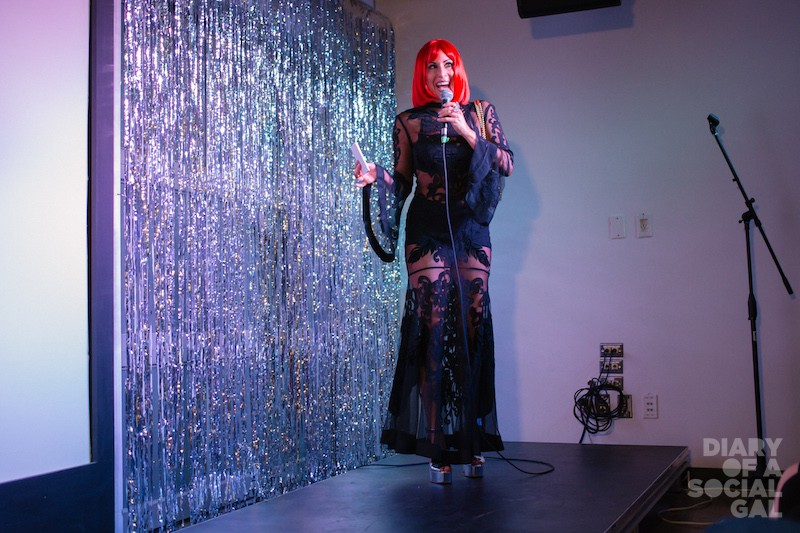 EMBRACING THE WIGGLE SPIRIT: Diary's JENN CAMPBELL introduces the eve's star and host CANDIS CAYNE.