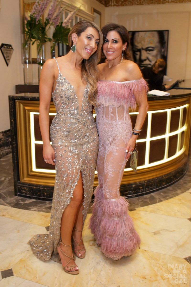 GLITTER GALS: Ritz-Carlton Montreal PR pro KATIA PICCOLINO in WHITE MONTREAL, Diary's JENN CAMPBELL in SOCIAL GAL SOIREE BY NAOMY STERN COUTURE.