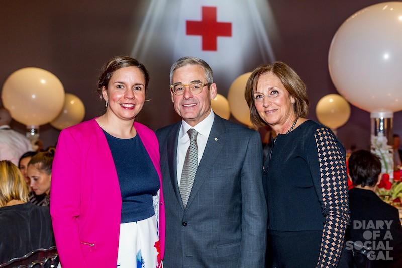 POWER OF 3: Canadian Red Cross deputy director philanthropy MARIE-KRISTINE LONGPRE, Claridge chief PIERRE BOIVIN, wife LUCIE BOIVIN.