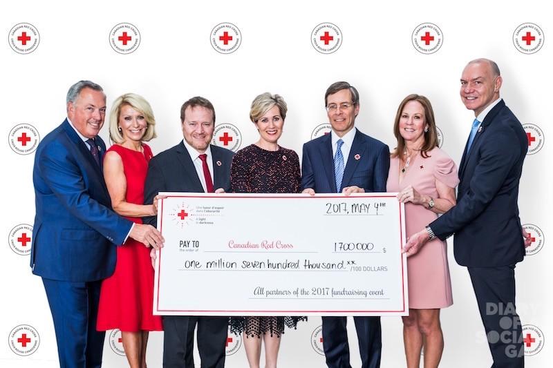 CHECK OUT THESE ZEROS! Co-chair, Groupe Park Avenue's NORMAN HÉBERT, wife, co-chair DIANE DUNLOP-HÉBERT, Canadian Red Cross Québec VP PASCAL MATHIEU, event founder / hon. chair MICHÈLE DIONNE, event co-chair, Power Financial Corp tops R. JEFFREY ORR, wife / co-chair SUZANNE LEGGE ORR,  Canadian Red Cross president /CEO CONRAD SAUVÉ.