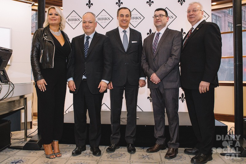 BIRKS DIAMOND BRIGADE: VP Birks Brand and CMO EVA HARTLING, Stornoway president / CEO MATT MANSON, Birks Group president /CEO JEAN-CHRISTOPHE BÉDOS, Mistissini Cree Nation chief RICHARD SHECAPIO, and Rouyn-Noranda–Témiscamingue MP LUC BLANCHETTE.